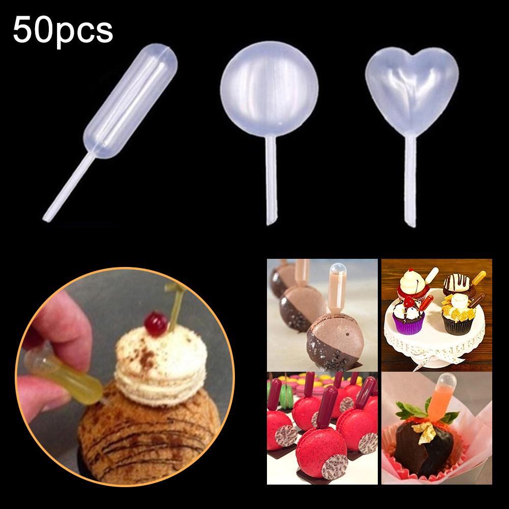 50 pipetas descartáveis da transferência do conta-gotas líquido da forma redonda do coração dos pces 4ml para o bolo de chocolate do gelado do queque da morango toppers