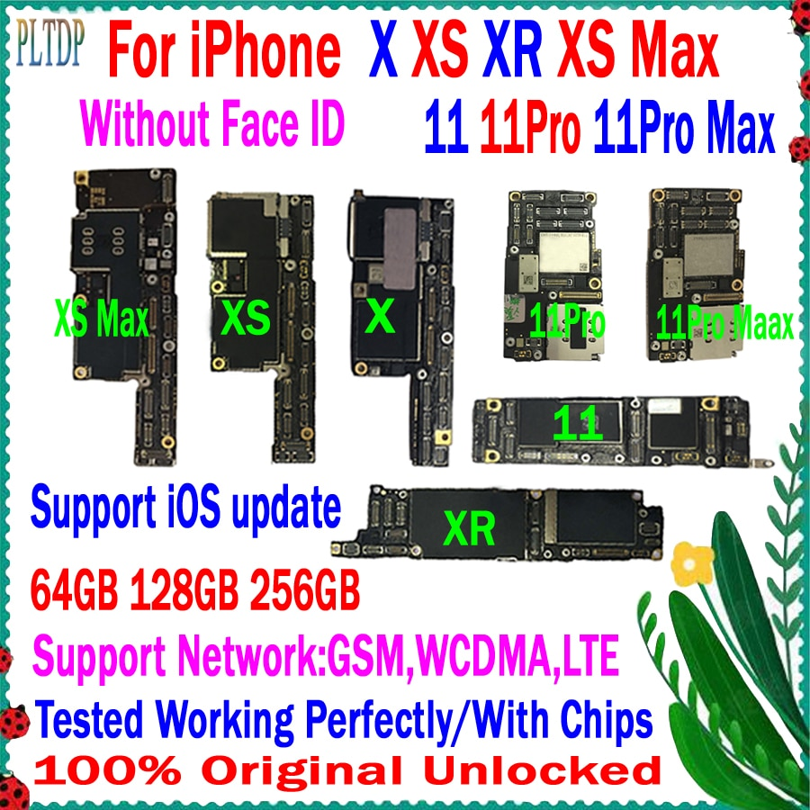 Get 100% Original For iphone x xr xs max 11 pro max Motherboard Factory Unlock with full chips Tested Support iOS update Logic board