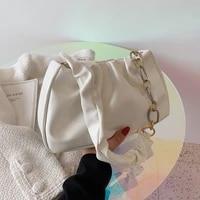 solid color pleated tote bag 2021 fashion new high quality soft leather womens designer handbag travel shoulder bags armpit bag