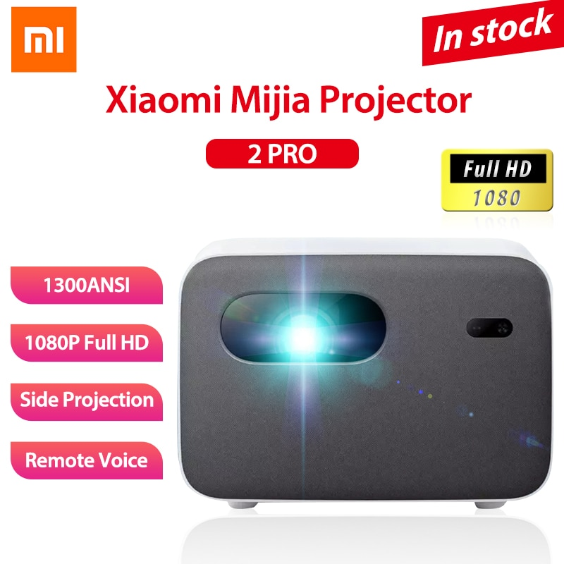 Xiaomi Mijia Side Projector 2 Pro 1080P Full HD Smart TV DLP LED 1300ANSI Bluetooth Andriod 2GB 16GB Voice Remote Control Home