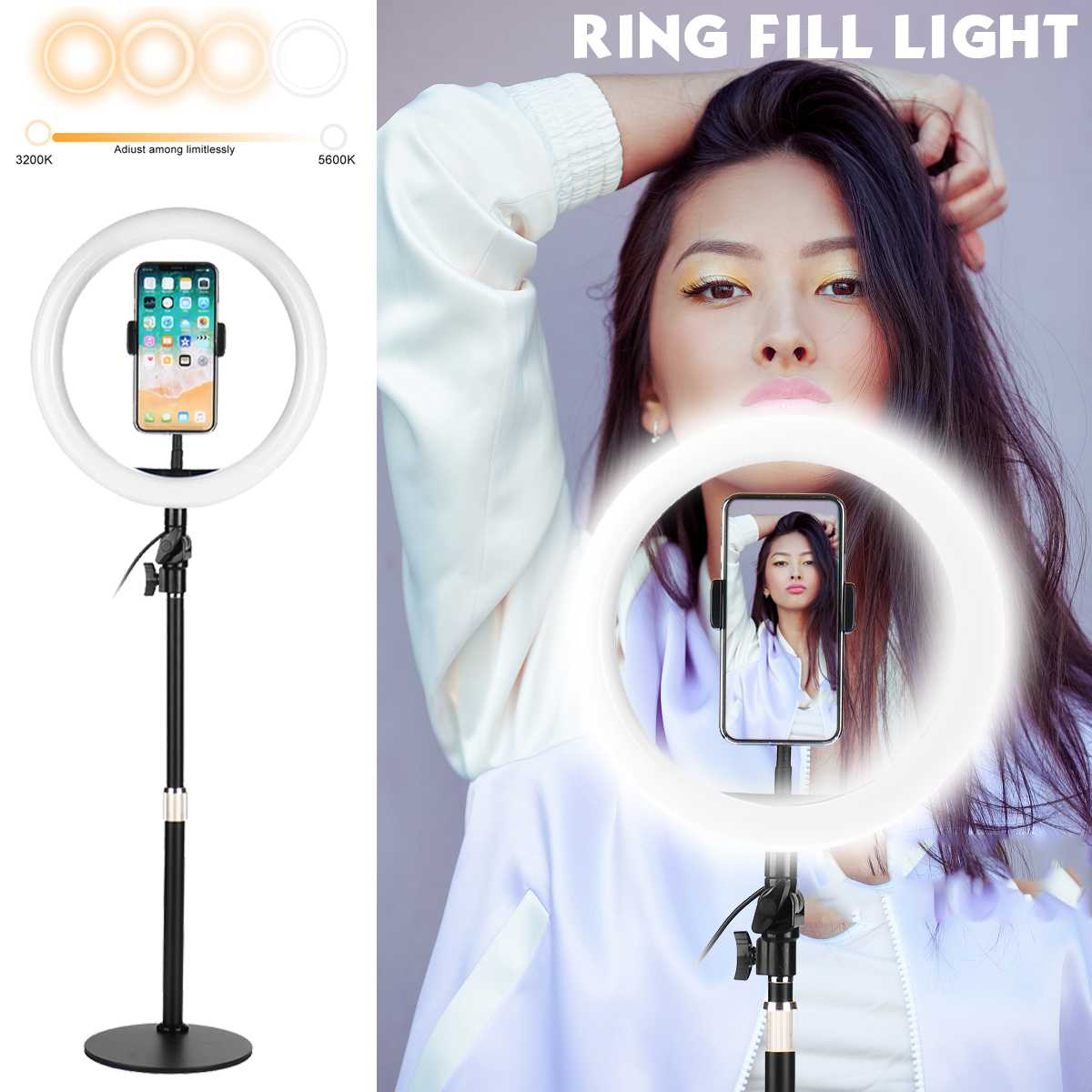 26cm USB LED Licht Ring Fotografie Blitz Lampe Mit Stand Für Make-Up Youtube VK Video Dimmbare Beleuchtung