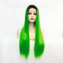Perruque Lace Front wig synthétique attachée à la main   Perruque bleue oiseau, racines foncées à lherbe, verte résistante à la chaleur, perruques pour femmes