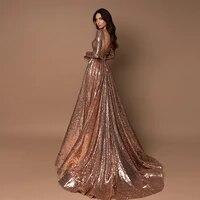 sparkle sequin evening dresses long 2021 beading a line long sleeves evening gowns sexy deep v neck party dress robes de soir%c3%a9e
