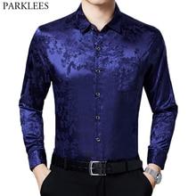 Blue Smooth Silk Shirt Men 2020 Stylish Chinese Dragon Print Mens Slim Fit Dress Shirts Satin Casual Soft Male Tuxedo Shirt 4XL