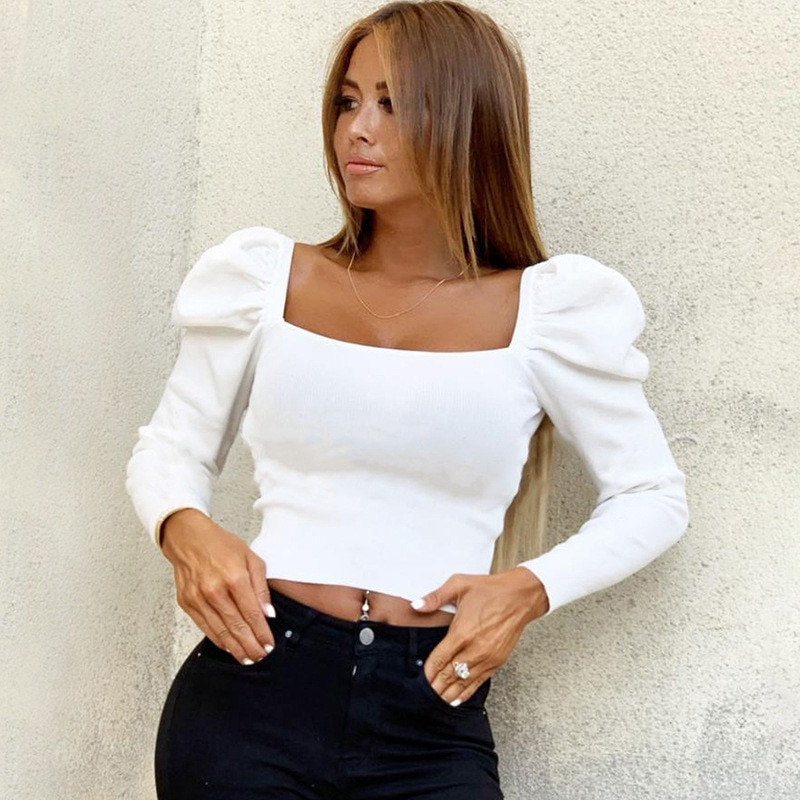 2019 Retro Women Autumn Shirts Solid Color Puff Sleeve Square Collar Slim Blouses Tops Fashion Ladies Bare Belly Bottoming Shirt