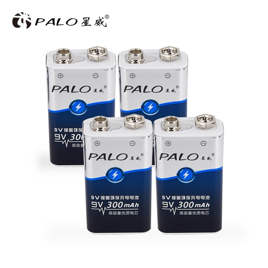 PALO 4 pièces NI-MH batterie Rechargeable 6F22 9 V 300mAh Batteries 9 tension pour détecteurs de fumée jouets sans fil caméras batterie Mics