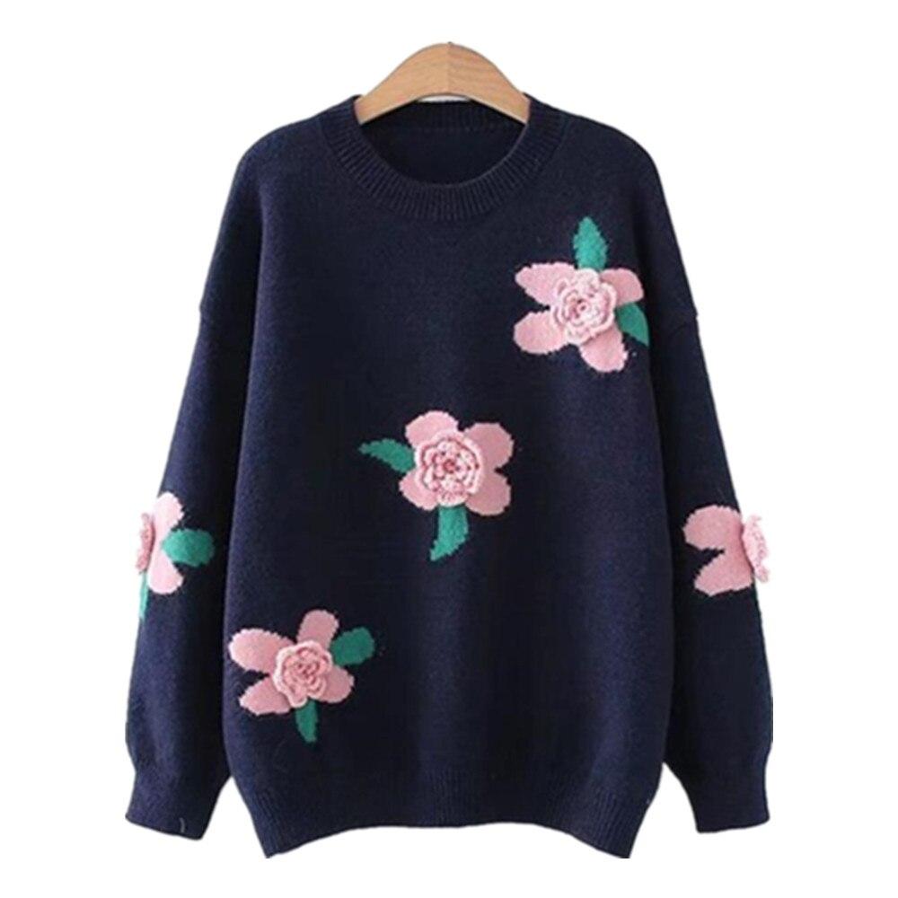 Корейский женский вязаный пуловер с вышивкой, свитер, женский свитер с цветочной аппликацией, Женский трикотажный свитер на осень, женский ...