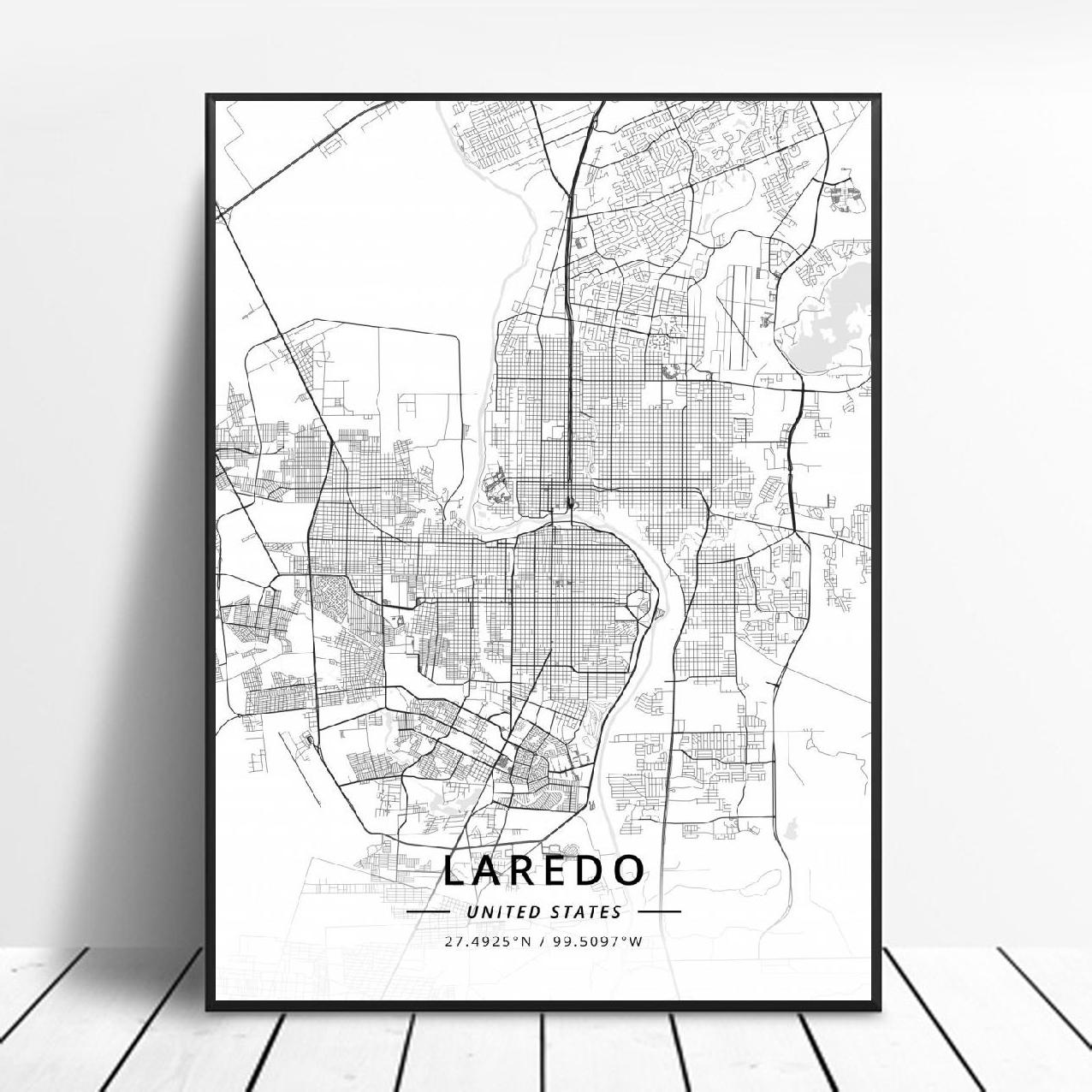 Póster Artístico de lienzo Durham Colorado Spring, fuerte Worth, Laredo, New York, Scottsdale, Estados Unidos, Mapa