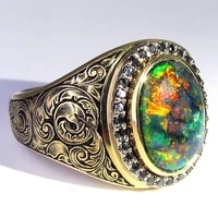 traditional fashion opal zircon luxury engagement ring mens gentleman wedding rings birthday christmas gift jewelry