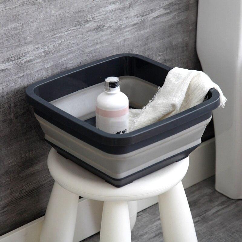 Cuenco de lavado retráctil de plástico para el hogar, lavabo de pie, lavabo portátil plegable para viajes al aire libre