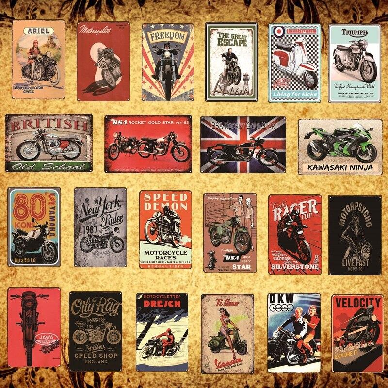 Decoración de pared Retro placa cartel Pub Bar café Hotel Metal Tin Sign moto artística artesanía garaje decoración del hogar pintura de hierro
