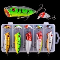 5/10Pcs Popper Wobbler Fishing lures Topwater Crankbait Artificial bait pesca carp pike Fishing Lure set WIth box