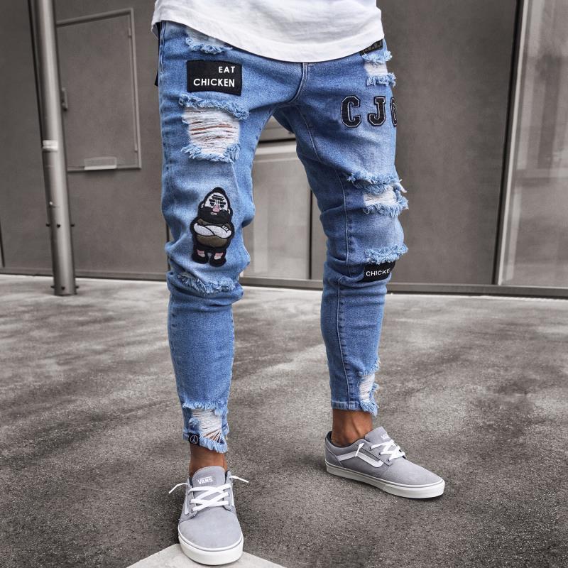 Мужские джинсы 2021, новинка 3 стиля, повседневные Модные Узкие рваные джинсы с вышивкой, брюки-карандаш, уличные узкие Стрейчевые джинсы