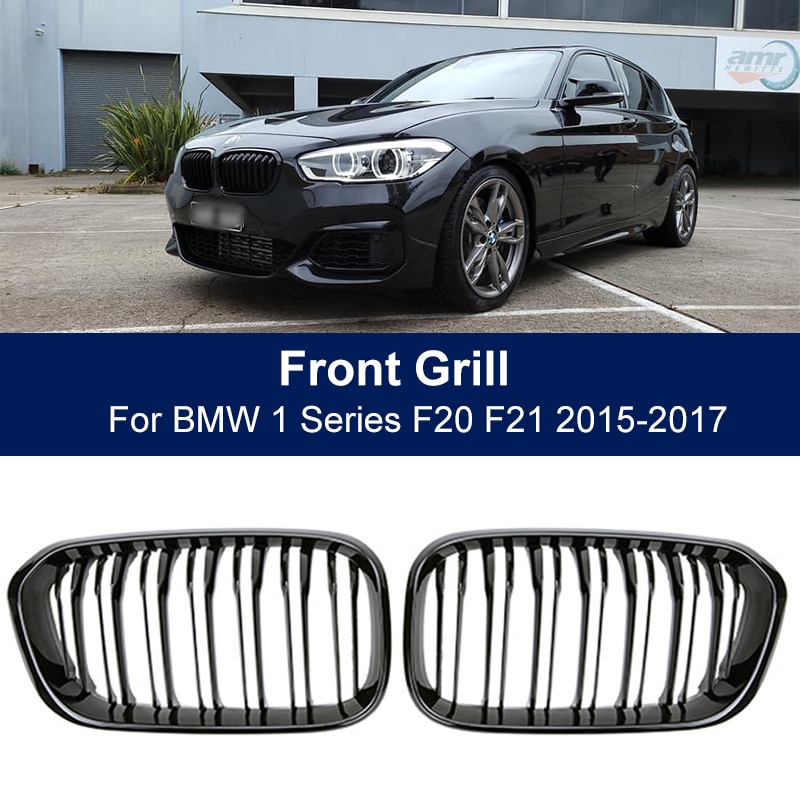 2pcs car racing grille for hyundai solaris 2 grill 2016 2018 emblems abs radiator sliver chrome front bumper upper replacement Car Front Bumper Grilles Kidney Racing Grill For BMW 1 Series F20 F21 LCI 120i 2015 2016 2017 Double Slat Replacement Grille