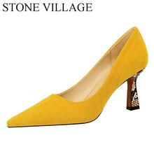 Pedra vila 34-43 sapatos tamanhos grandes moda feminina sexy boate leopardo imprimir cor-bloco camurça rasa bombas de inferno alto