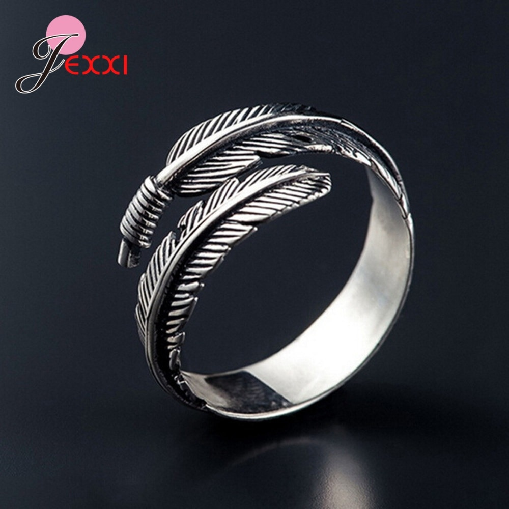 Gift for Lover Women Vintage Feather Statement Open Ring 925 Sterling Silver Ancient Silver Color Fashion Jewelry for Wedding sterling 925 silver color ring for women wedding jewelry natural garnet stone statement ring classic rose gold ring jewelry gift