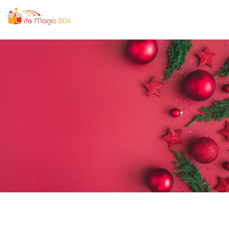 Fondo de la caja mágica de la vida para sesiones de fotos bolas de árboles de Navidad rojos animales de granja cumpleaños fiesta de fondo