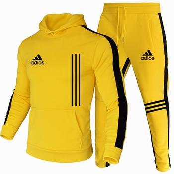 Les Nouveaux hommes À Capuche Sport Costume Coton Polyester Cordon Tendance Sportswear Mode Automne Et Hiver Pull Costume S-3XL