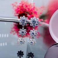diwenfu 100 s925 sterling silver sunflower diamond sapphire drop earring geometric bizuteria gemstone earring women orecchini