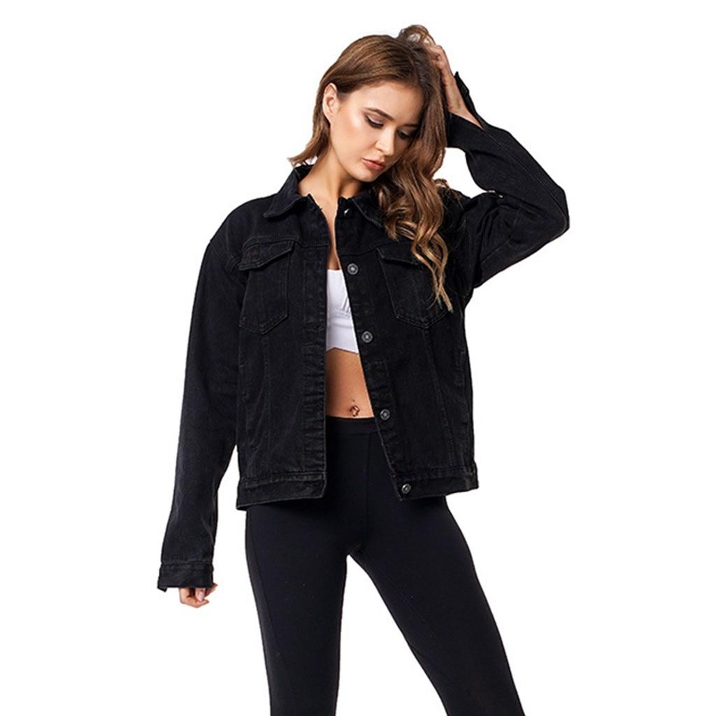 Feminino denim casaco feminino namorado jeans jaqueta vintage preto streetwear denim jaqueta de manga longa solto jean outwear jaqueta