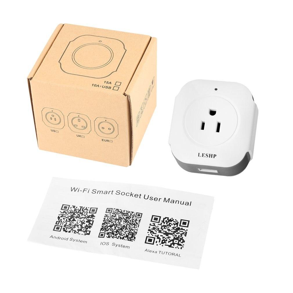 Mini enchufe inteligente LESHP inalámbrico con Salida USB (5 V/1 a) interruptor inteligente Wi-Fi de toma de corriente de Control remoto