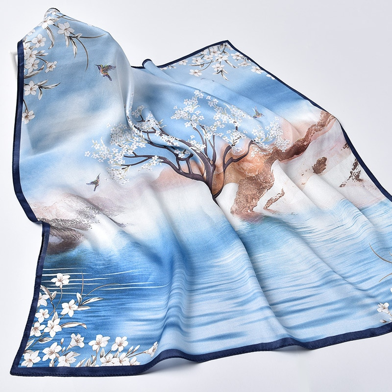 Pañuelo de seda Natural Hangzhou 100% para mujer, pañuelo de seda con estampado Real, pañuelo cuadrado pequeño de seda, pañuelo 65x65cm, bufandas para cuello
