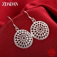 zdadan 925 sterling silver hollow round drop earrings for women charm engagement jewelry party gift