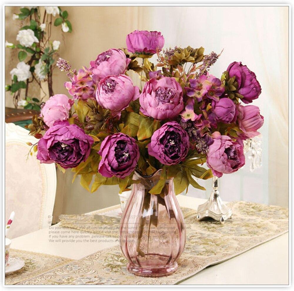 Flores artificiales Flor de seda europeo otoño vívido peonía hoja falsa boda fiesta hogar Decoración