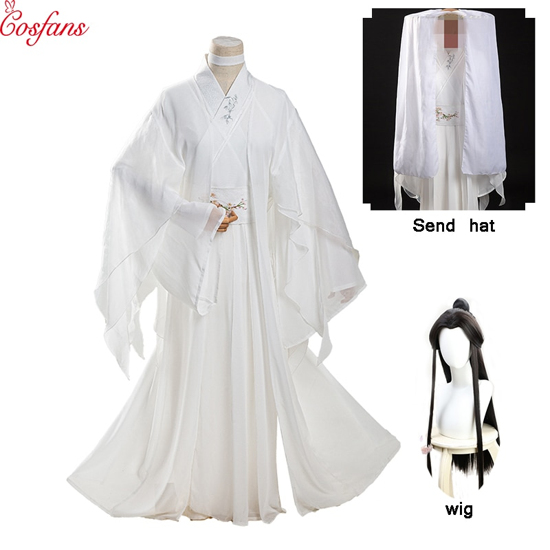Neue Unisex Xie Lian Cosplay Kostüm Tian Guan Ci Fu Cosplay Xielian perücken Bambus Hut Prop Weiß Han Fu Anime outfit kostenloser lieferung