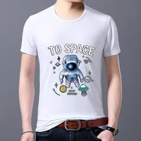 mens tshirts white all match cartoon astronaut pattern series short sleeve tops street fashion man tees plus size male clothes