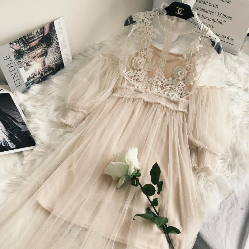 Новое поступление, женское кружевное платье с цветочным рисунком, длинное газовое платье с рукавами-фонариками, длинное платье из вуали, женское платье принцессы в стиле ретро с крючками, комплект из 2 предметов