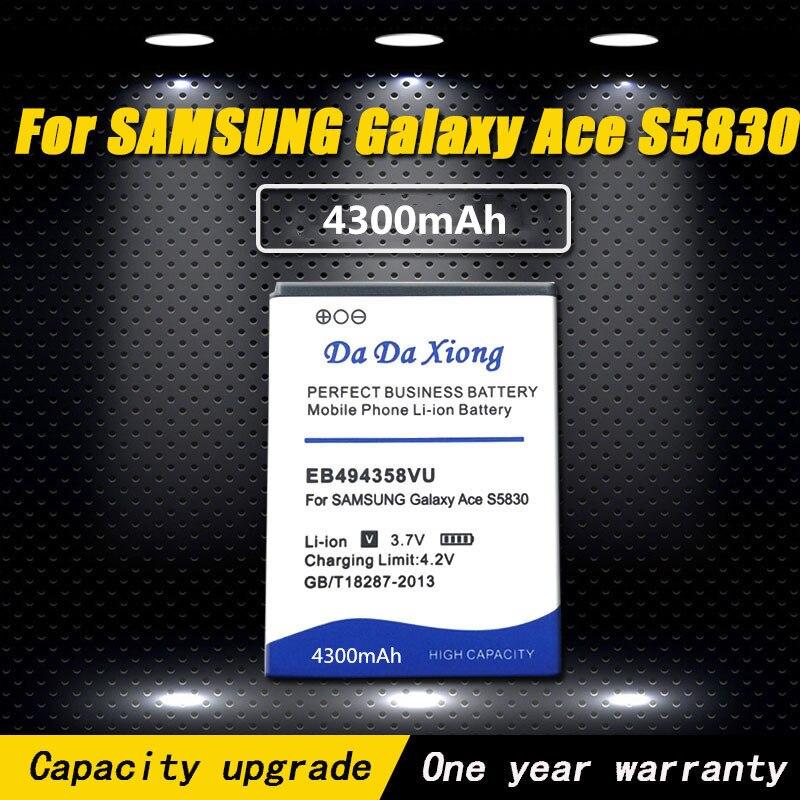 Nueva 4300mAh EB494358VU batería para Samsung Galaxy Ace 5830 S6802 B7510 i569...