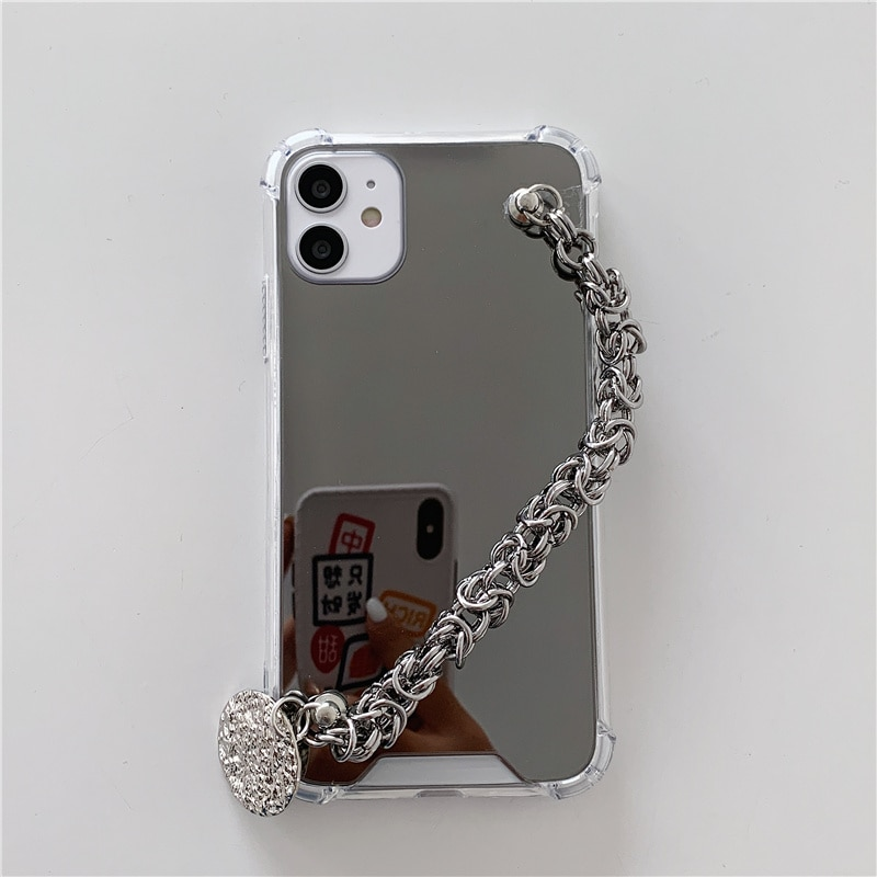INS Metal chain lanyard shockproof mirror Case For iphone 12 12Pro Max 11 11Pro X Xs max SE2020 XR 7 8 Plus protective capa