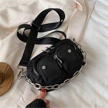 Bolsos cruzados de nailon con patrón sólido para mujer 2020, Mini bolsos de hombro negros para mujer, bolsos con cadena para teléfono, bolsos multibolsillos
