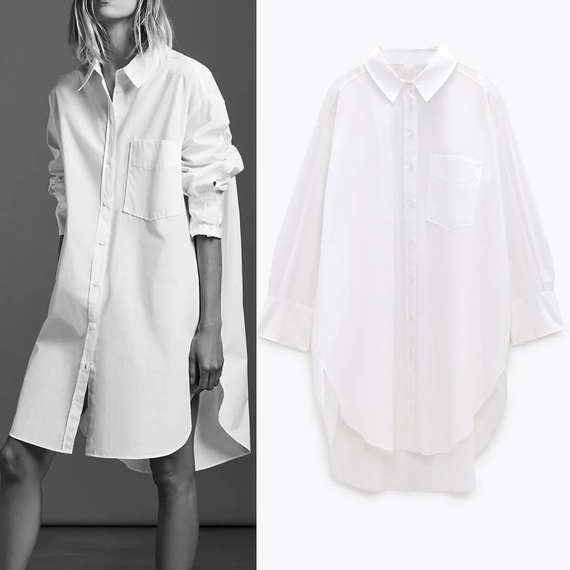 PSEEWE Za Oversized White Shirt Women 2020 Autumn Long Sleeve Collared Button Up Long Shirts Ladies Asymmetric Hem Casual Tops