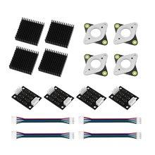 4 pièces NEMA17 moteur pas à pas tl-smoother avec câbles + 4 * moteur pas à pas amortisseur de vibrations + 4 * Kit dissipateur thermique pour imprimante 3D