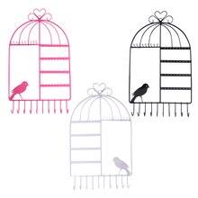 Nouveauté métal montage mural cage à oiseaux bijoux organisateur boucles doreilles porte-collier cintre