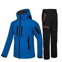 men fleece soft shell jacket pants winter waterproof warm hiking jacket outdoor camping fishing hunting trekking trousers
