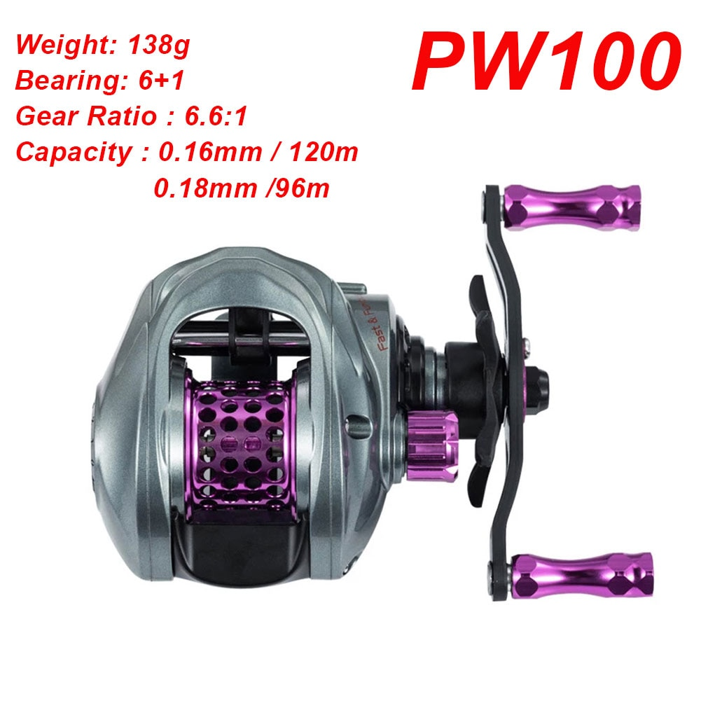 PW100 Fishing Weel Power Wind Baitcast Reel Ultra-Light Carbon Micro-Throwing Baitcasting Reel Lightweight Casting Reels enlarge
