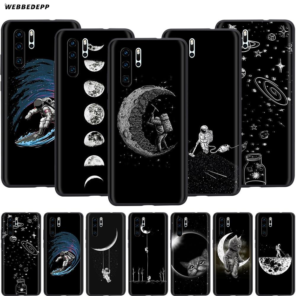 Webbedepp Luna espacial gatos funda para Huawei Honor 6A 7A 7C 7X 8 8X 8C 9 9X 10 20 Lite Pro nota vista