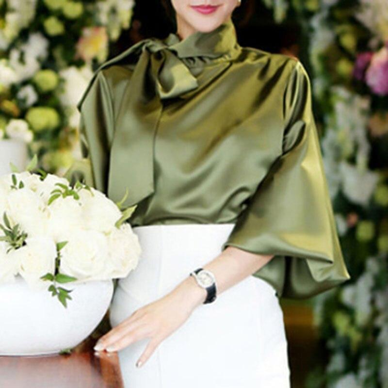 Damen Vintage Satin hemd frauen Laterne Hülse Hemd Fliege Neck Lose Elegante Bluse Tops sommer 2018 hemd treroninae
