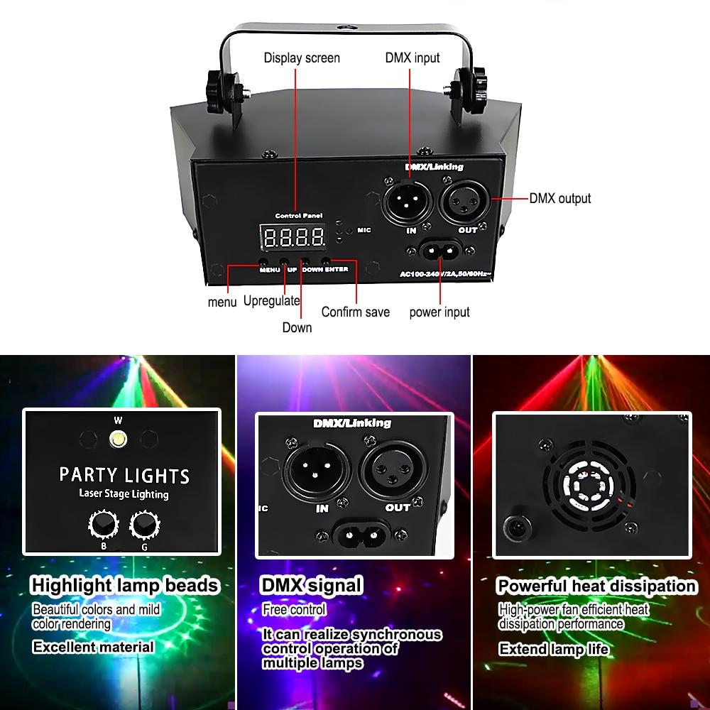 9 глаз сцена лазер свет DMX пульт контроллер RGB дискотеки лампа DJ лазер сцена проектор для дискотек вечеринка