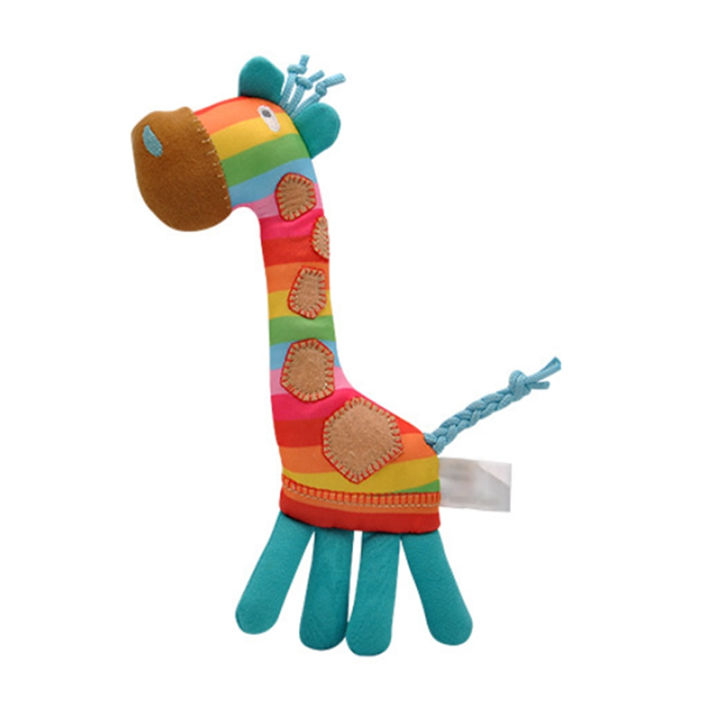 Bebê infantil chocalho brinquedo para crianças bonito girafa desenvolvimento arco-íris pelúcia macio girafa brinquedo crianças presentes do bebê