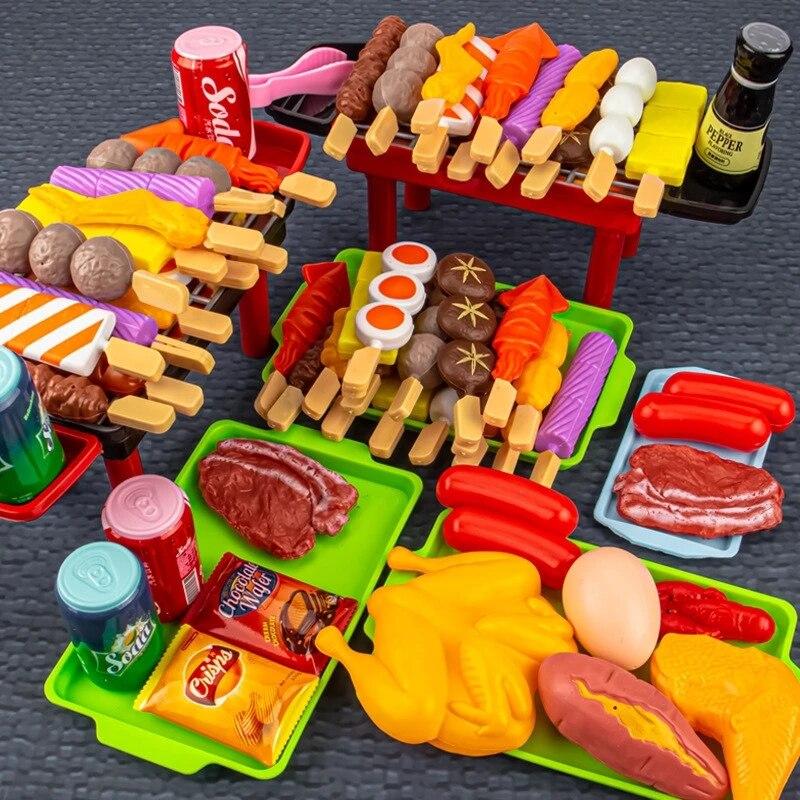 Детская имитация барбекю, ролевые игры на кухне, детские игрушки, кухонная посуда, приготовление пищи, барбекю, ролевые игры «сделай сам», об...