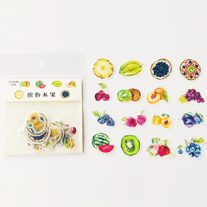 32 Stks/pak Zomer Kleurrijke Vruchten Papier Stickers Diy Dagboek Boek Decoratieve Sticker