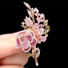 Belle Rose Rose broches pour femmes costume manteau robe bijoux mode strass broche broches cadeau de noël saree brochers