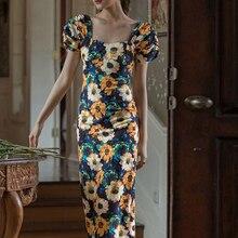 TWOTWINSTYLE Vintage Print Women Dress Square Collar Puff Short Sleeve High Waist Side Split Hit Color Summer Dresses Female New