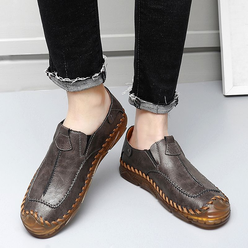 2021 Autumn New Men PU Fashion Car Sewing Flat Bottom Cover with One Foot Pedaling Lefu Shoes and An
