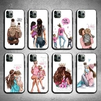 fashion super mom baby girl phone case for iphone 6 6s 7 8 plus xr x xs xsmax 11 12 pro mini max