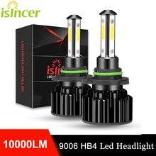 2 шт. 9006 светодиодный 360 4 стороны светодиодный фар автомобиля лампы 10000LM HB4 9006 автомобильных фар для авто Противотуманные огни 6000K 12V iSincer